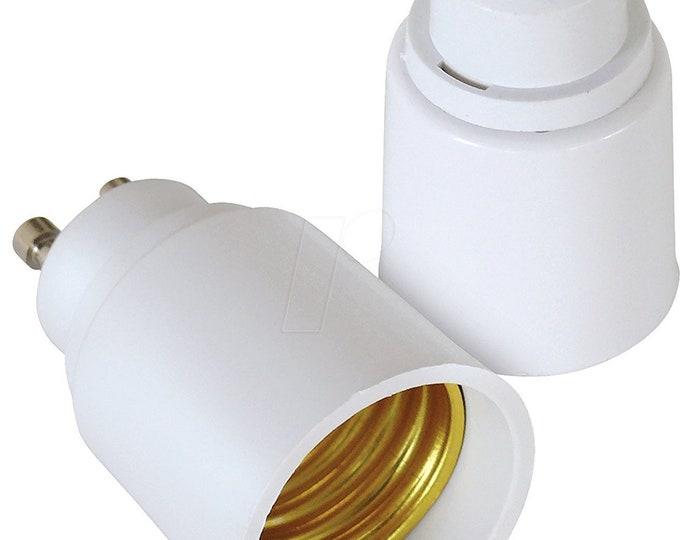 GU10 to E27/E26 Adapter - 2 Pin Bayonet(GU10) Base to Medium Screw(E26/E27) Base Lamp Socket Converter
