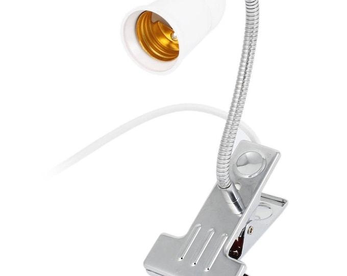 US-Style Plug Flexible Aluminum Neck Clip For Desk Lamp Holder with Switch For E26/E27 Edison Lights