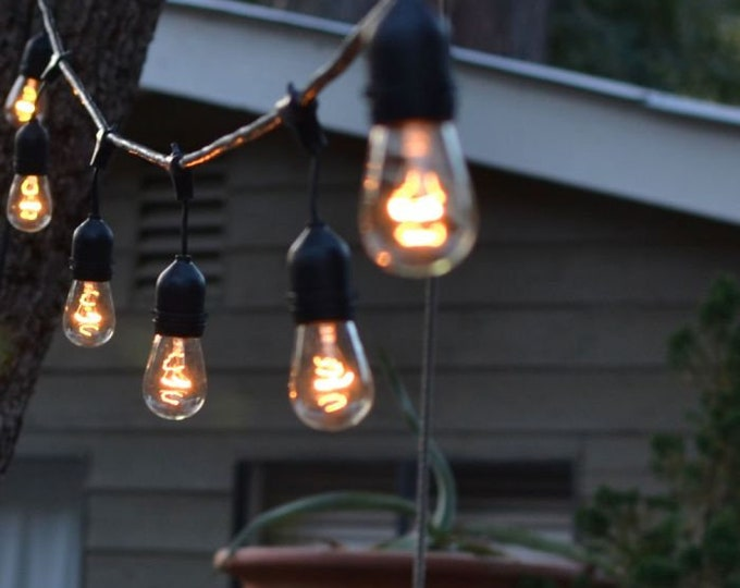 48FT Outdoor String Light with 24 Sockets Weatherproof for Patio Garden Event Backyard Party Wedding