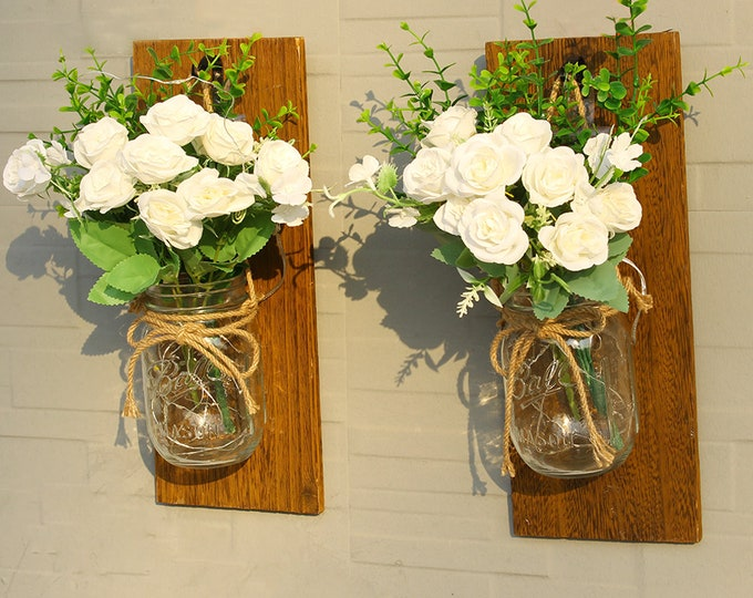 Set of 2 - Rustic Wall Sconces - Mason Jar Sconces, Wrought Iron Hooks with LED Fairy Lights, Flowers, Remote for Wall Door Home Decor Gift