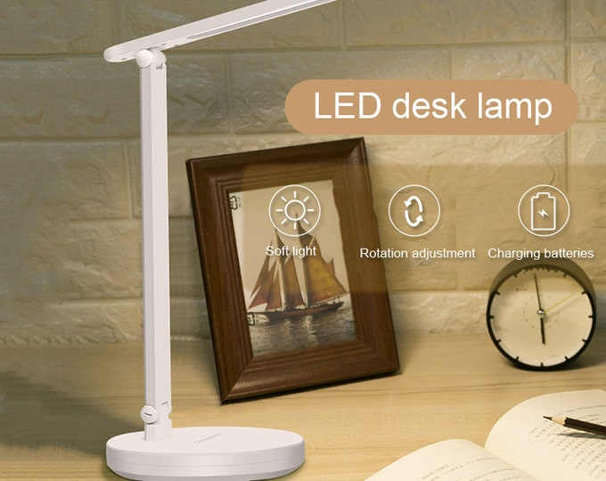 LED Desk Lamp with Eye Protection Flexible Bedside Dimmable Office Table Lamp with USB Charging Port