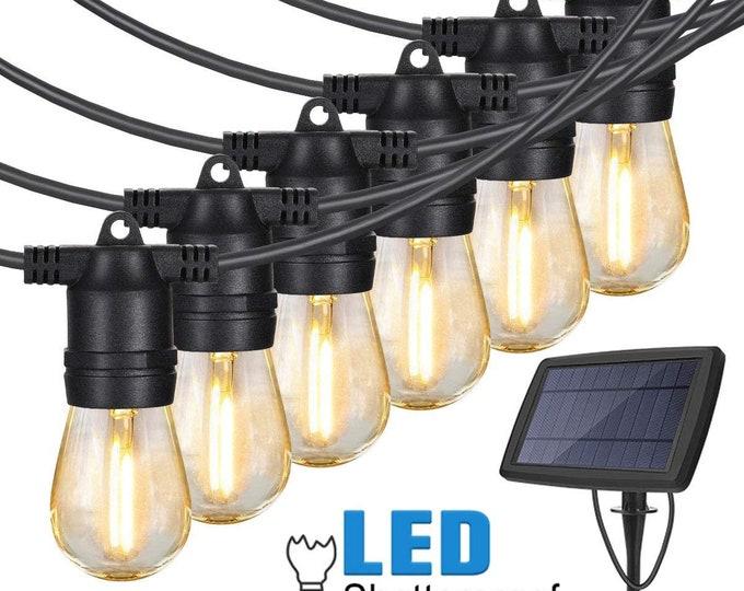 27FT 12 Lights Outdoor Solar LED String Light For Patio Party Cafe Porch Garden Wedding
