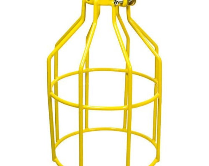 Adjustable Industrial Vintage Style Metal Lamp Guard Shade Cage Yellow