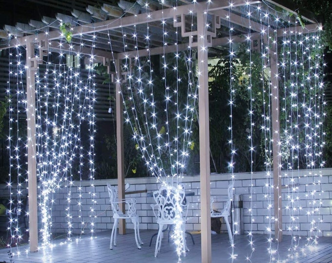 LED Curtain Light Fairy String Light  with IR Remote for Bedroom Curtain Wall Wedding Window Patio Decoration 6.6ft x 9.8ft