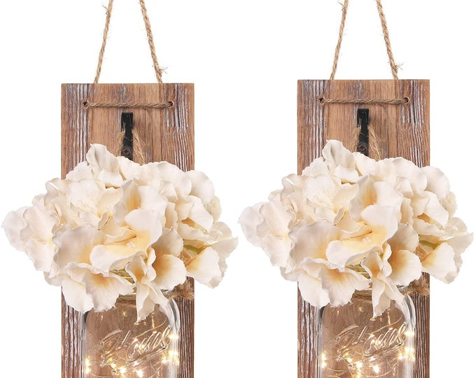 Set of 2 - Rustic Wall Sconces - Mason Jars Sconce with Wrought Iron Hooks, Flowers, LED Fairy Lights for Home Wall Decoration Gift
