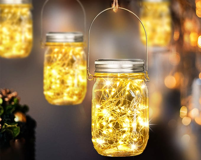 Set of 2 Outdoor Solar Lights Mason Jar LED Hanging Lanterns with Fairy String Lights for Christmas, Patio, Garden, Party, Gift