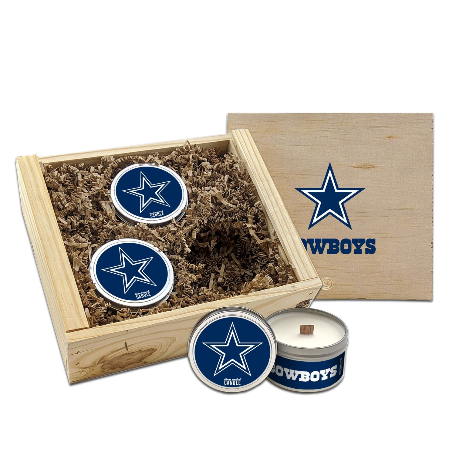 Worthy Promotional NFL Dallas Cowboys Vanilla Scented 6 oz Soy Wax Candle Wood Wick