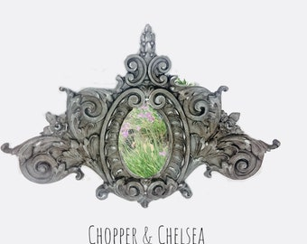 Mirror, ornate, decorative, silver, gray, resin,