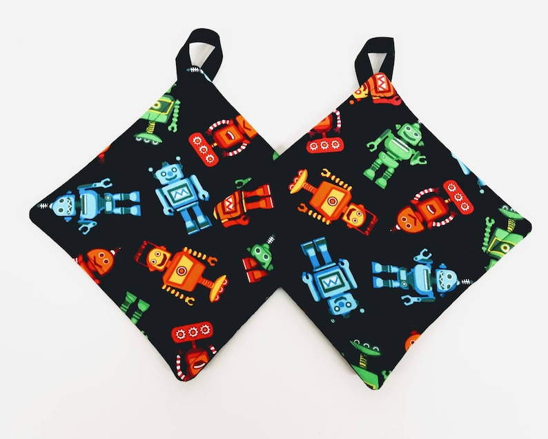 Multicolored Robots Potholder or Hot Pad set with Hanging Loop