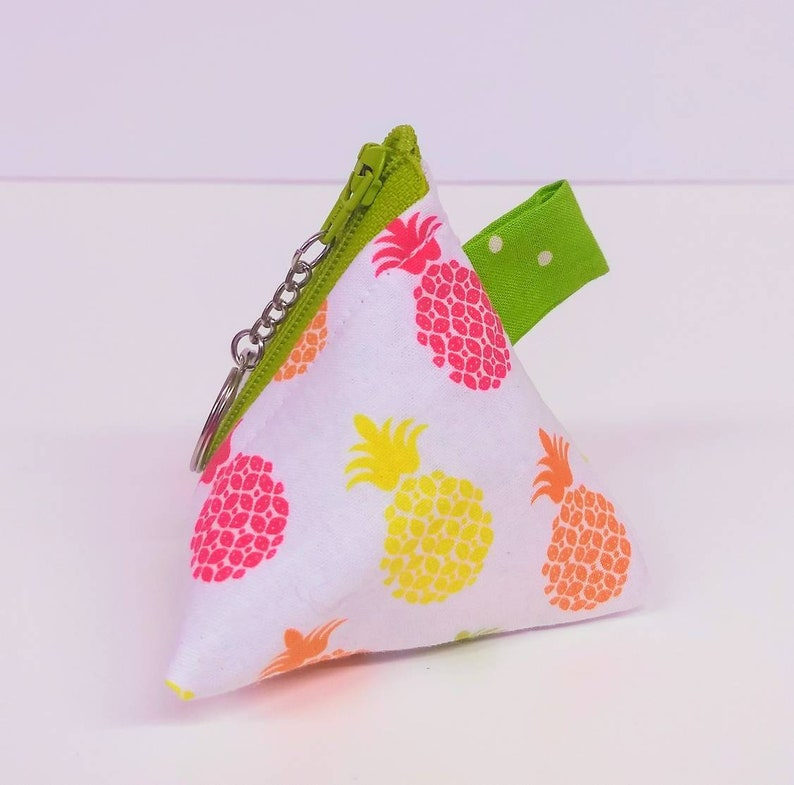 Multicolored Pineapple Pyramid Zippered coin purse with Key Ring and green polka dot lining