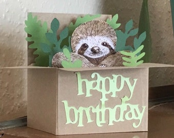 Sloth Happy Birthday 3D Box Card. Handmade recycled card. Can send direct. Gift card holder.