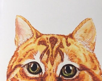 Handmade Ginger Cat Blank Greetings Card ~ Birthday, Congratulations, Thinking Of You, Sorry, Ginger Mackerel watercolour Card ~ Blank Insi