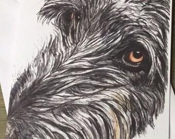 Handmade Irish Wolfhound Dog Blank Greetings Card ~ Watercolour Birthday, Congratulations, Sorry, Thinking Of You, Card