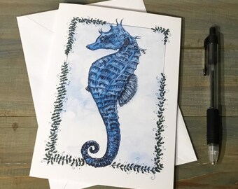 Handmade Seahorse Greetings Card ~ Blank for Birthday, Congratulations, Sorry, Thinking Of You ~ Blank Inside ~ Watercolour Card