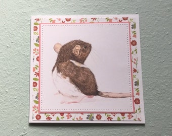 Handmade Rat Blank Greetings Card ~ Birthday, Congratulations, Sorry, Thinking of You ~ Watercolour Card