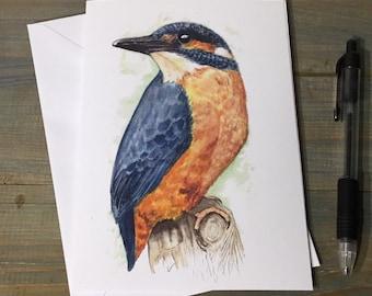 Handmade Kingfisher Bird Greetings Card ~ Watercolour Birthday, Congratulations, Thinking of You Card ~ Blank Inside ~ Send direct