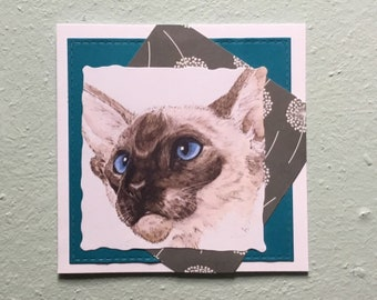 Handmade Siamese Cat Blank Greetings Card ~ Birthday, Congratulations, Thinking Of You, Sorry, watercolour Card ~ Blank Inside ~ Send direct