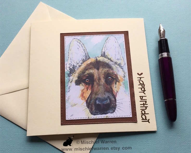 German Shepherd Birthday Card Happy For Dog Lover Suitable Men Dad Brother Husband Partner Or Male Friend