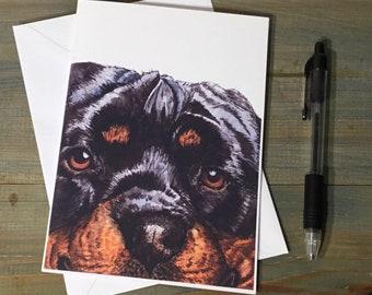 Handmade Rottweiler Rotti Dog Blank Greetings Card ~ Birthday, Congratulations, Sorry, Thinking of You ~ Watercolour Card