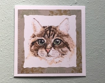 Handmade Tabby Cat Blank Greetings Card ~ Birthday, Congratulations, Thinking Of You, Sorry, watercolour Card ~ Blank Inside ~ Send direct
