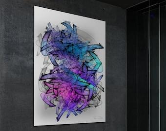 Large Modern Abstract Graffiti Wall Art 'Structura #19'
