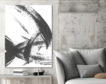 Large Minimalist Black and White Modern Abstract Art, Zen Style Wall Art