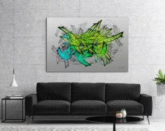 Modern Abstract Graffiti Painting, Large Urban Contemporary Street Art