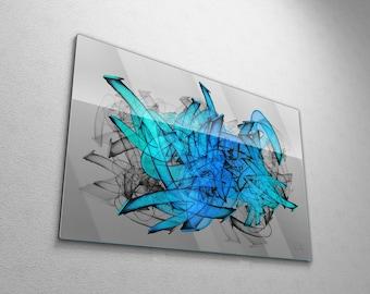Bold Aqua Blue Modern Abstract Graffiti Painting, Large Contemporary Urban Street Art