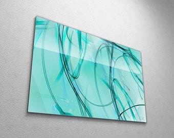 Contemporary Abstract Painting, Original Graffiti Wall Art, Large Modern Aqua Teal Blue Art