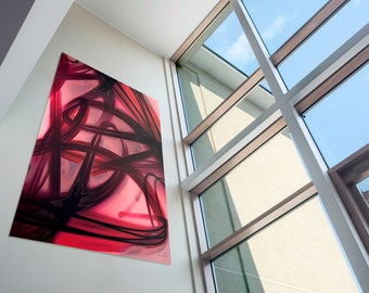 Modern Abstract Graffiti Painting, Large Red Contemporary Urban Wall Art