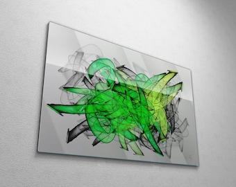 Modern Abstract Graffiti Wall Art, Large Green Contemporary Street Art