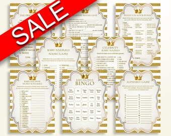 Games Baby Shower Royal Gold White Paper Supplies Idea Party Dcor Y9MQF
