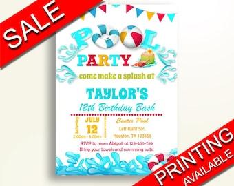 Pool Birthday Invitation Party Boy Girl Printables Summer G3C3V