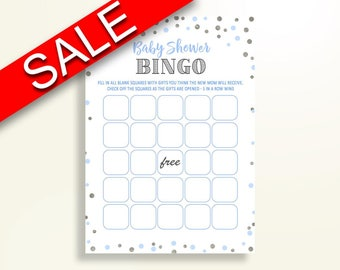 Empty Bingo Baby Shower Empty Bingo Blue And Silver Baby Shower Empty Bingo Blue Silver Baby Shower Blue And Silver Empty Bingo party OV5UG