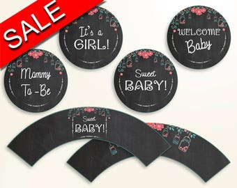 Cupcake Toppers And Wrappers Baby Shower Cupcake Toppers And Wrappers Chalkboard Baby Shower Cupcake Toppers And Wrappers Baby Shower NIHJ1