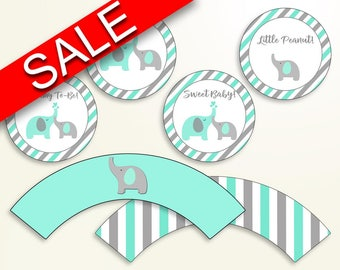 Cupcake Toppers And Wrappers Baby Shower Cupcake Toppers And Wrappers Turquoise Baby Shower Cupcake Toppers And Wrappers Baby Shower 5DMNH