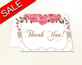 Thank You Card Baby Shower Thank You Card Roses Baby Shower Thank You Card Baby Shower Roses Thank You Card Pink White party décor U3FPX