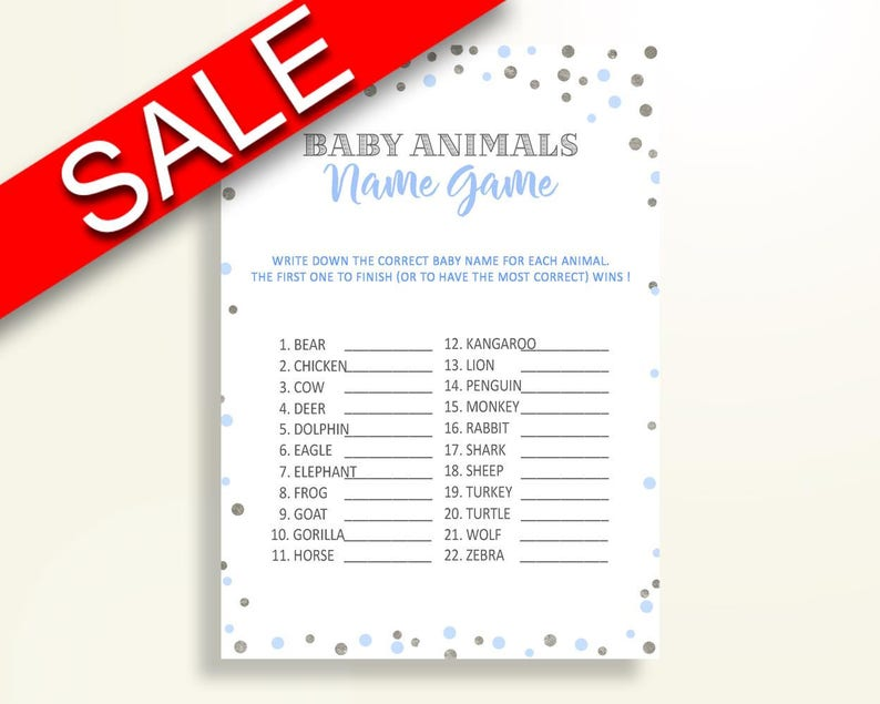 Baby Animal Names Baby Shower Baby Animal Names Blue And Silver Baby Shower  Baby Animal Names Blue Silver Baby Shower Blue And Silver OV5UG