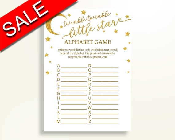Alphabet Game Baby Shower Abc Game Twinkle Twinkle Little Star Etsy