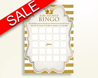 Empty Bingo Baby Shower Empty Bingo Royal Baby Shower Empty Bingo Gold White Baby Shower Gold Empty Bingo party supplies prints Y9MQF