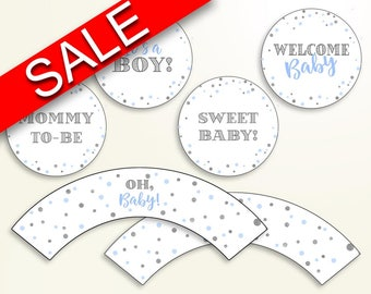 Cupcake Toppers And Wrappers Baby Shower Cupcake Toppers And Wrappers Blue And Silver Baby Shower Cupcake Toppers And Wrappers Blue OV5UG