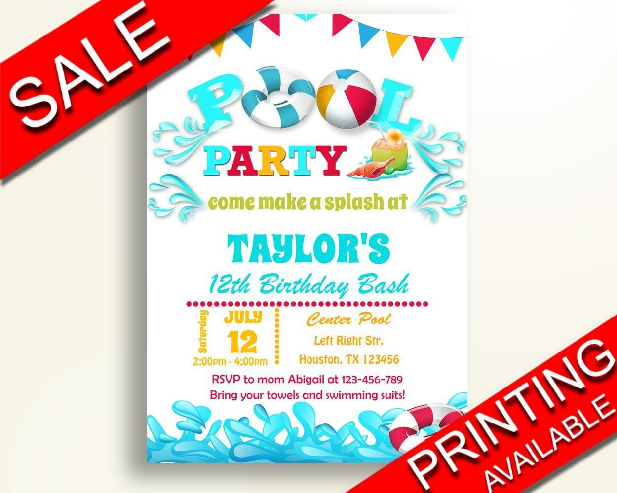 Pool Birthday Invitation Pool Birthday Party Invitation Pool | Etsy