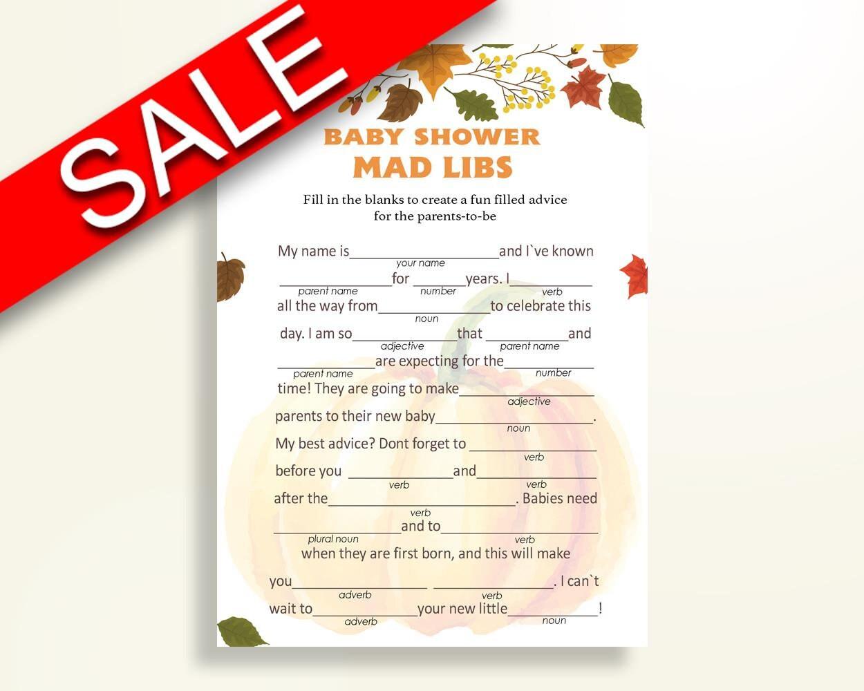 Mad Libs Baby Shower Mad Libs Autumn Baby Shower Mad Libs Baby Shower  Pumpkin Mad Libs Orange Brown prints digital download OALDE