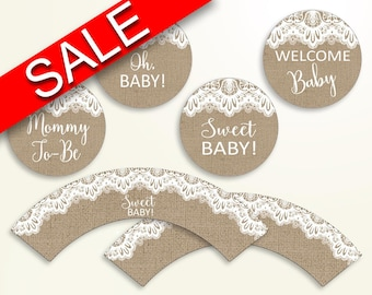 Cupcake Toppers And Wrappers Baby Shower Cupcake Toppers And Wrappers Burlap Lace Baby Shower Cupcake Toppers And Wrappers Baby Shower W1A9S