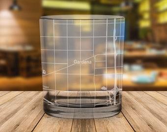 Gardena California City Map Whiskey Glass Gift