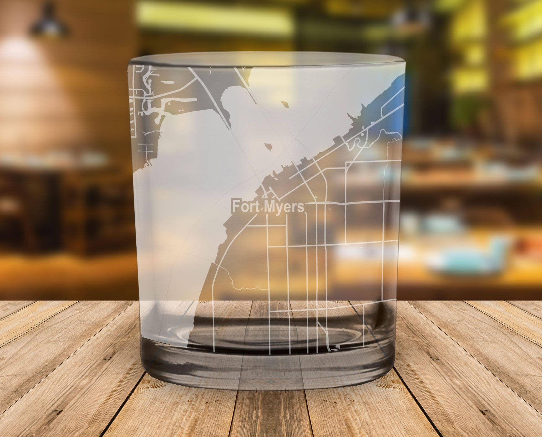 Fort Myers Florida Map.Fort Myers Florida Map Whiskey Glass Gift