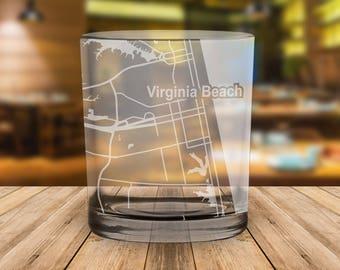 Virginia Beach Virginia Map Whiskey Glass Gift