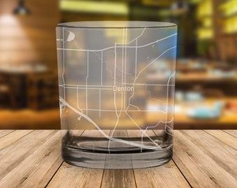 Denton Texas Map Whiskey Glass Gift