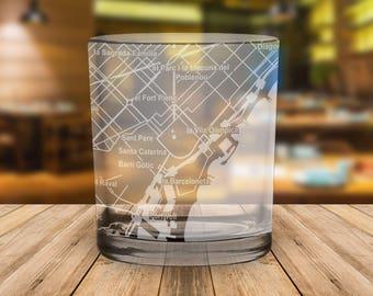 Barcelona City Map Whiskey Glass Gift