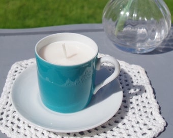 2 Turquoise Teacup Candle